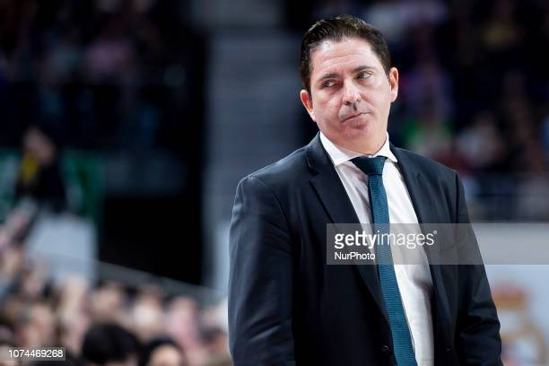 Coach Xavi Pascual of Panathianikos Opap Athens during Turkish Airlines Euroleague match between Real Madrid and Panathinaikos Opap Athens at Wizink...