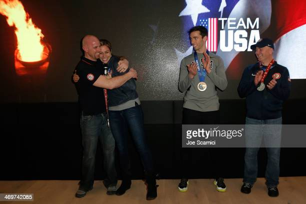 Coach Zachery Lund US Olympians Noelle PikusPace and Matthew Antoine and coach Tuffy Latour visit the USA House in the Olympic Village on February 16...