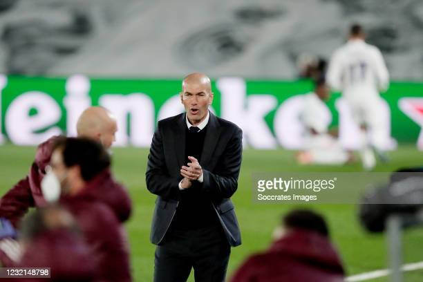 Coach Zinedine Zidane of Real Madrid Celebrates 1-0 during the UEFA Champions League match between Real Madrid v Liverpool at the Estadio Alfredo Di...