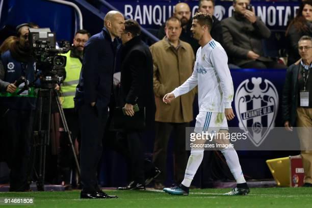 coach Zinedine Zidane of Real Madrid Cristiano Ronaldo of Real Madrid during the La Liga Santander match between Levante v Real Madrid at the Estadi...