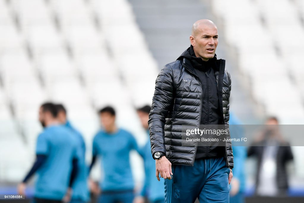 Coach Zinedine Zidane of Real Madrid during a training session on the eve of the UEFA Champions League match agains Juventus at Allianz Stadium on April 2, 2018 in Turin, Italy.