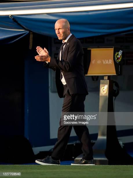 coach Zinedine Zidane of Real Madrid during the La Liga Santander match between Leganes v Real Madrid at the Estadio Municipal de Butarque on July 19...