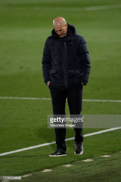 Coach Zinedine Zidane of Real Madrid during the UEFA Champions League match between Real Madrid v Shakhtar Donetsk at the Estadio Alfredo Di Stefano...