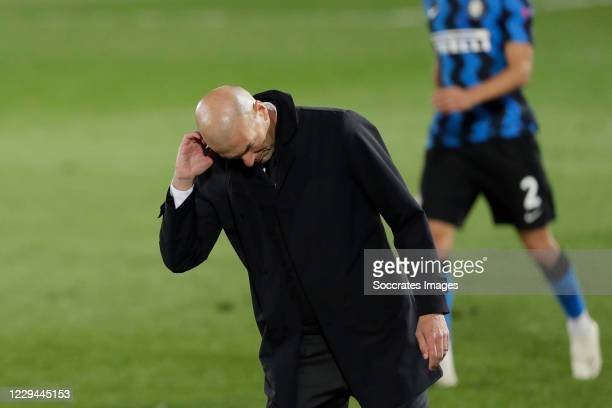 Coach Zinedine Zidane of Real Madrid during the UEFA Champions League match between Real Madrid v Internazionale at the Alfredo Di Stefano Stadium on...