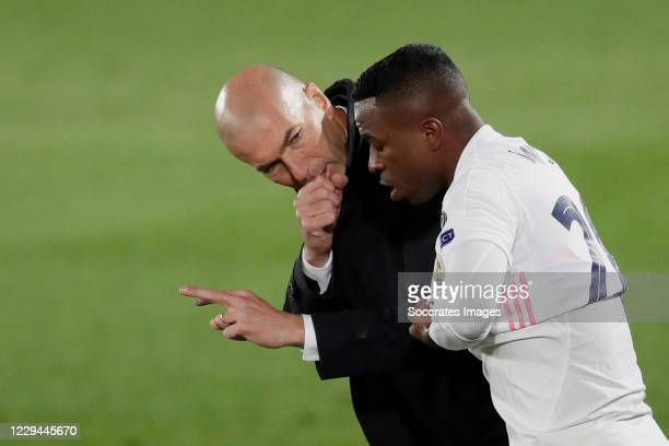 Coach Zinedine Zidane of Real Madrid, Rodrygo of Real Madrid during the UEFA Champions League match between Real Madrid v Internazionale at the...