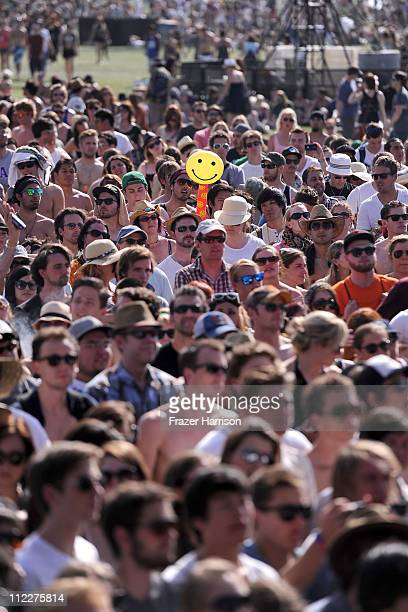 Coachella music fans attend Day 2 of the Coachella Valley Music Arts Festival 2011 held at the Empire Polo Club on April 16 2011 in Indio California
