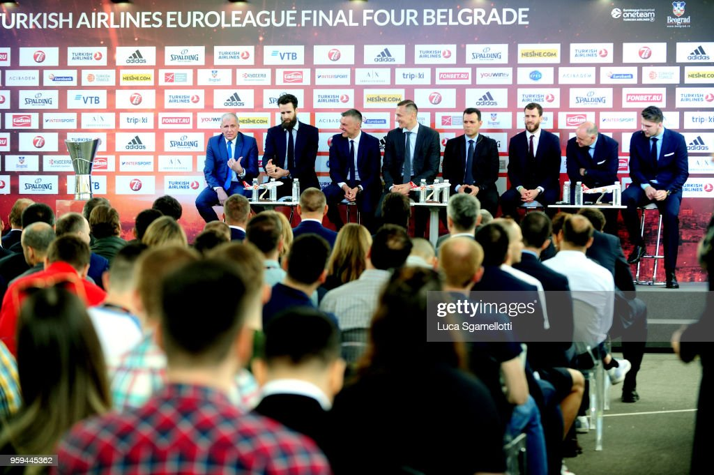 Coaches and players answer press questions during the 2018 Turkish Airlines EuroLeague F4 Final Four Opening Press Conference at Kalemegdan Fortress and Park on May 17, 2018 in Belgrade, Serbia.