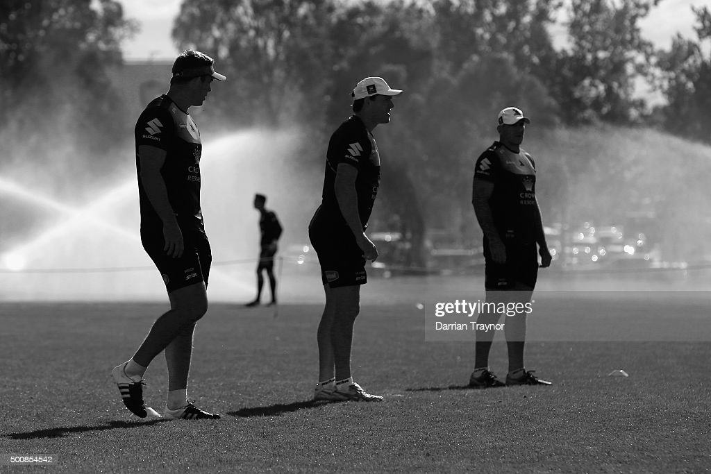 Coaches and players prepare for a Melbourne Storm NRL pre-season training session at Gosch's Paddock on December 11, 2015 in Melbourne, Australia.