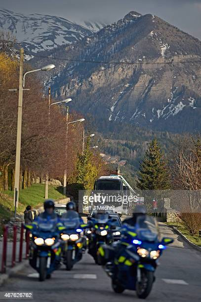 Coaches arrive believed to be carrying family members of the victims of the flight 4U9525 crash on March 26, 2015 in Seyne, France. Germanwings...