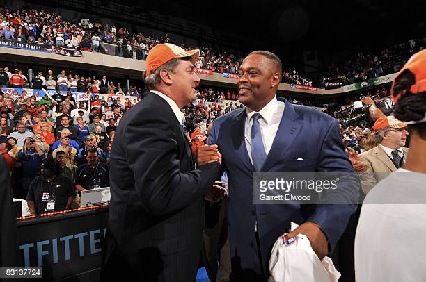 Coaches Bill Laimbeer and Rick Mahorn of the Detroit Shock celebrates after winning Game Three of the WNBA Finals against the San Antonio Silver Star...