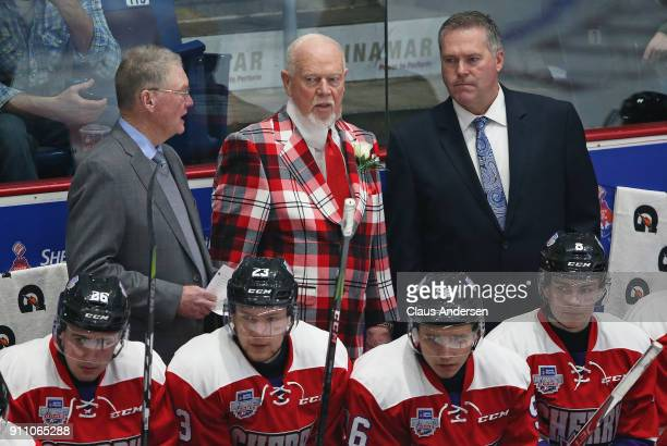 Coaches Brian Kilrea Don Cherry and James Richmond of Team Cherry patrol the bench against Team Orr in the 2018 SherwinWilliams CHL/NHL Top Prospects...