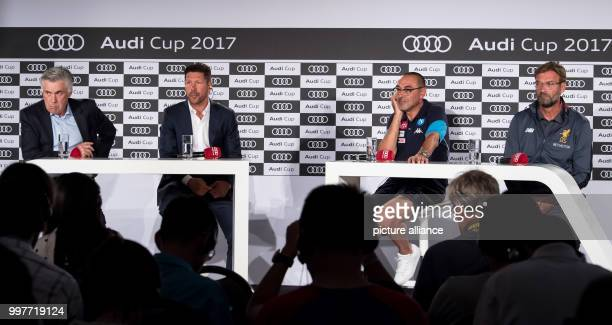 Coaches Carlo Ancelotti of Bayern Munich Diego Simeone of Atletico Madrid Maurizio Sarri of Napoli and Jurgen Klopp of Liverpool taking part in a...