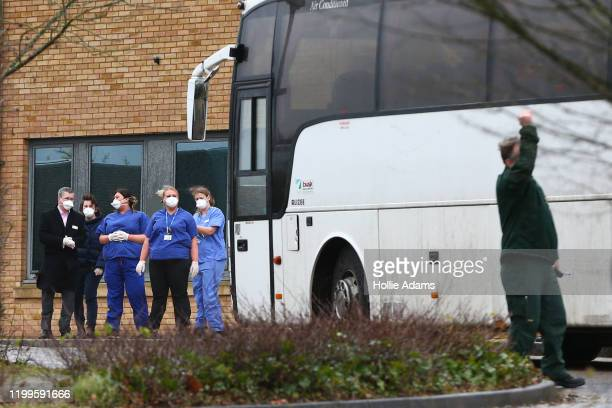 Coaches carrying British nationals that landed at RAF Brize Norton on the final evacuation flight from the Chinese city of Wuhan, following a...