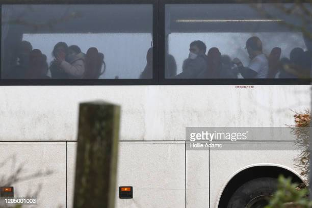 Coaches carrying British nationals that landed at RAF Brize Norton on the final evacuation flight from the Chinese city of Wuhan following a...