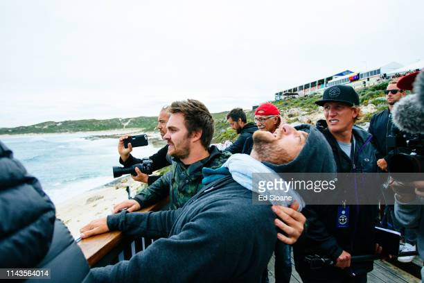 Coaches cheering on their athletes the 2016 Drug Aware Margaret River Pro