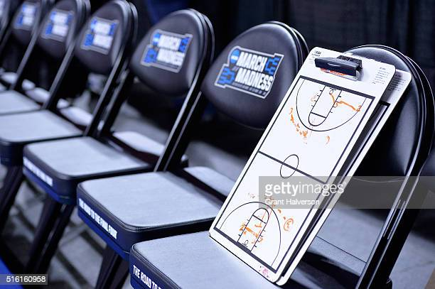 A coaches clipboard is seen before the Butler Bulldogs take on the Texas Tech Red Raiders in the first round of the 2016 NCAA Men's Basketball...