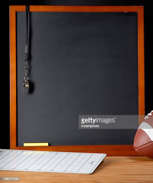 coaches corner football - whistle blackboard stock pictures, royalty-free photos & images