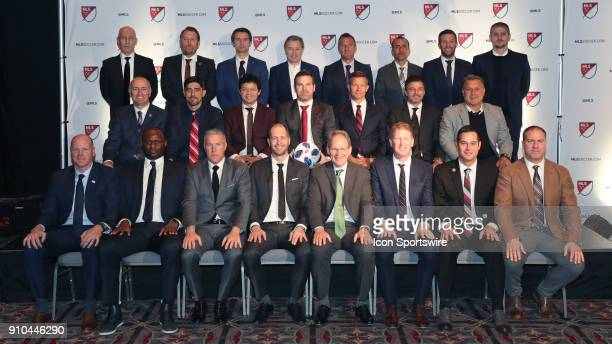 MLS coaches group photo Front row Brad Friedel Patrick Vieira Peter Vermes Gregg Berhalter Brian Schmetzer Jim Curtin Mike Petke Giovanni Savarese...