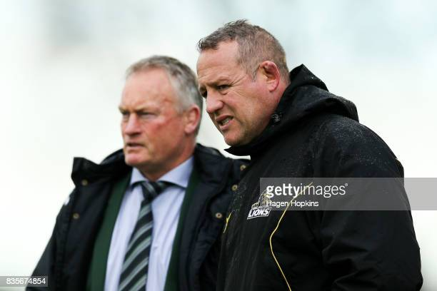 Coaches Jeremy Cotter of Manawatu and Chris Gibbes of Wellington talk during the round one Mitre 10 Cup match between Manawatu and Wellington at...