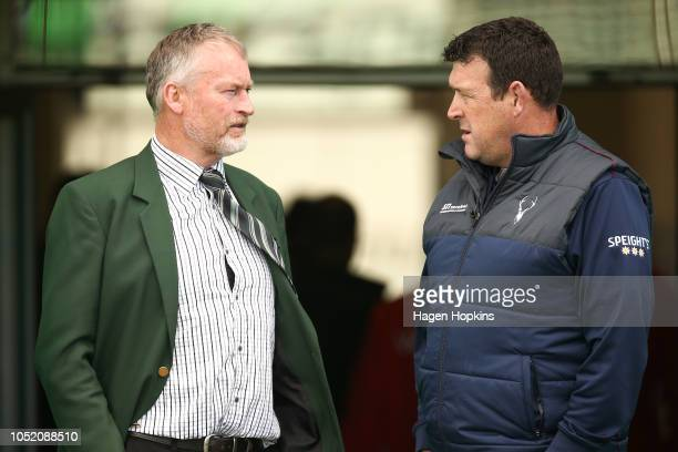 Coaches Jeremy Cotter of Manawatu and David Hewett of Southland talk during the round nine Mitre 10 Cup match between Manawatu and Southland at...