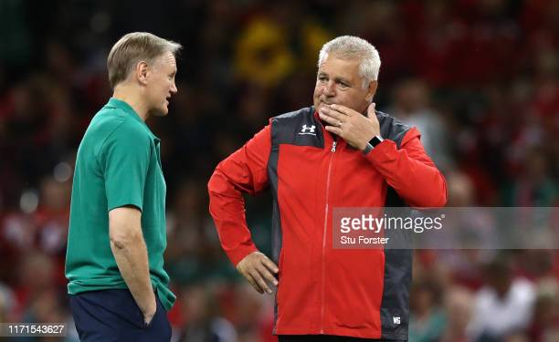 Coaches Joe Schmidt and Warren Gatland in conversation before the International match between Wales and Ireland at Principality Stadium on August 31...