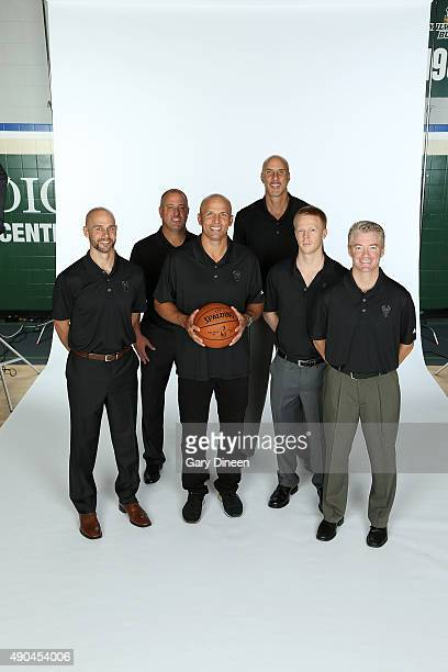 Coaches Josh Oppenheimer Eric Hughes Jason Kidd Greg Foster Sean Sweeney and Joe Prunty of the Milwaukee Bucks poses for a portrait during Media Day...