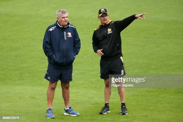 Coaches Mark O'Donnell of the Aces and Bruce Edgar of the Firebirds speak during the Twenty20 Supersmash match between the Wellington Firebirds and...