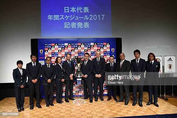Coaches of Japan National Teams pose for photographers during the Japan Football National Teams 2017 Schedule Press Conference at the JFA House on...