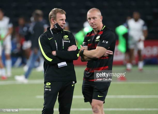 Coaches of Saracens Mark McCall Phil Morrow during the Heineken Champions Cup Semi Final match between Racing 92 and Saracens at Paris La Defense...