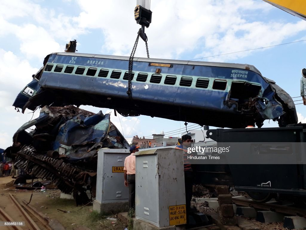 Coaches of the Kalinga Utkal Express train after it derailed in Khatauli, on August 20, 2017 in Muzaffarnagar, India. The Kalinga Utkal Express was on its way from Puri in Odisha to Haridwar in Uttarakhand when 14 coaches derailed at Khatauli in Muzaffarnagar district of Uttar Pradesh. Authorities registered a criminal complaint on Sunday against unknown people for mischief and causing deaths by negligence and began a probe into Saturday's train accident in Uttar Pradesh amid varying casualty figures. Uttar Pradesh officials put the death toll at 24 and announced an end to rescue work. At least 156 people were injured, they said. The injured were being treated at medical facilities in Muzaffarnagar and Meerut.