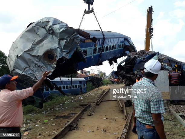 Coaches of the Kalinga Utkal Express train after it derailed in Khatauli on August 20 2017 in Muzaffarnagar India The Kalinga Utkal Express was on...