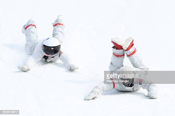 Coaches of The United celebrate during the Men's Big Air Final on day 15 of the PyeongChang 2018 Winter Olympic Games at Alpensia Ski Jumping Centre...