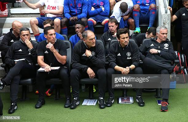 Coaches Ricardo Formosinho Emilio Alvarez Silvino Louro Assistant manager Rui Faria and Manager Jose Mourinho of Manchester United watch from the...