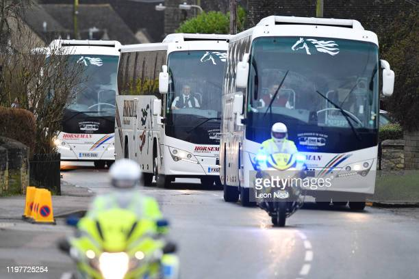 Coaches transport eightythree Britons and 27 foreign nationals who have been evacuated from Wuhan following a Coronavirus outbreak from RAF Brize...