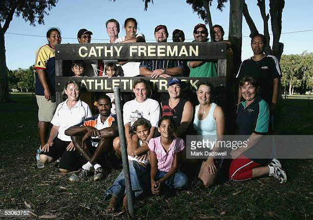 Coaching clinic participants pose for a photo with Cathy Freeman during the Athletics For Remote and Rural centres run by Athletics Australia at the...