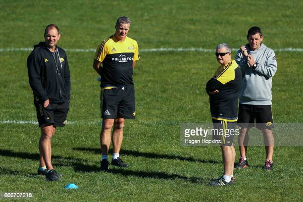Coaching staff John Plumtree Richard Watt Chris Boyd and Jason Holland watch over a Hurricanes Super Rugby training session at Rugby League Park on...
