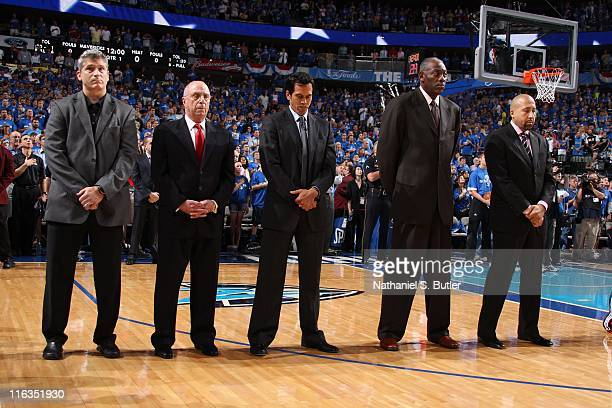 Coaching staff lines up during Game Four of the 2011 NBA Finals between the Miami Heat and the Dallas Mavericks on June 07 2011 at the American...