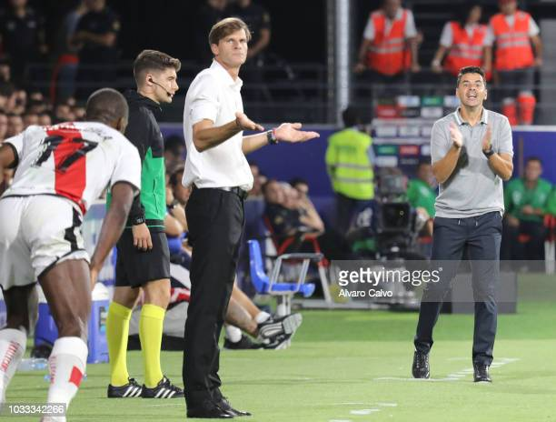 Coachs Leo Franco of SD Huesca and Michel of Rayo Vallecano during the La Liga match between SD Huesca and Rayo Vallecano at El Alcoraz on September...