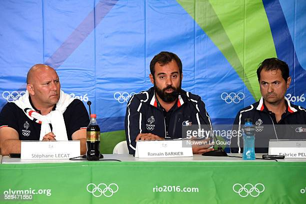 Coachs of France Stephane Lecat Romain Barnier and Fabrice Pellerin in press conference during Swimming on Olympic Games 2016 in Rio at Olympic...