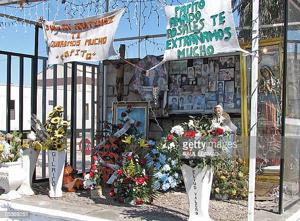 The pictures of the miners that were killed one year ago in an explosion, hang in an altar outside the mine, in Coahuila, north Mexico, 13 February...