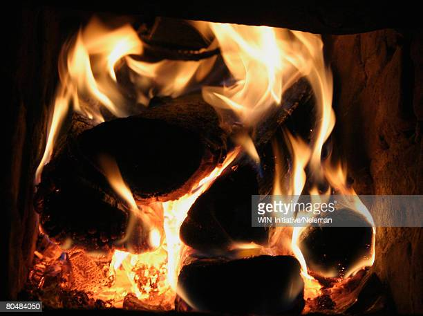Coal burning in fireplace, close-up