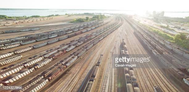 coal cars coverge on port in virginia - norfolk virginia bildbanksfoton och bilder