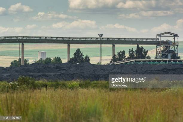 Coal conveyor above a coal pile at the Goedehoop coal mine, operated by Anglo American Plc, in Mpumalanga, South Africa, on Tuesday, Jan. 12, 2021....
