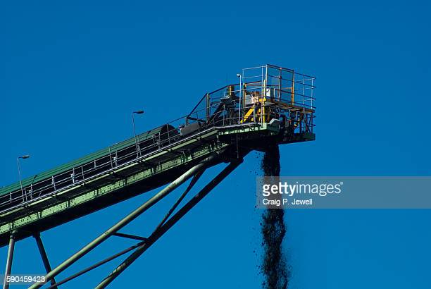 Coal conveyor dumping coal on a stockpile