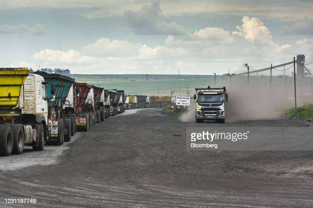 Coal delivery trucks queue at a weighbridge at the Goedehoop coal mine, operated by Anglo American Plc, in Mpumalanga, South Africa, on Tuesday, Jan....