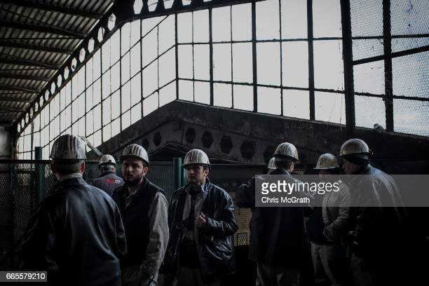 Coal engineers prepare to start their shift underground at a large government run coal mine on April 4, 2017 in Zonguldak, Turkey. More than 300...