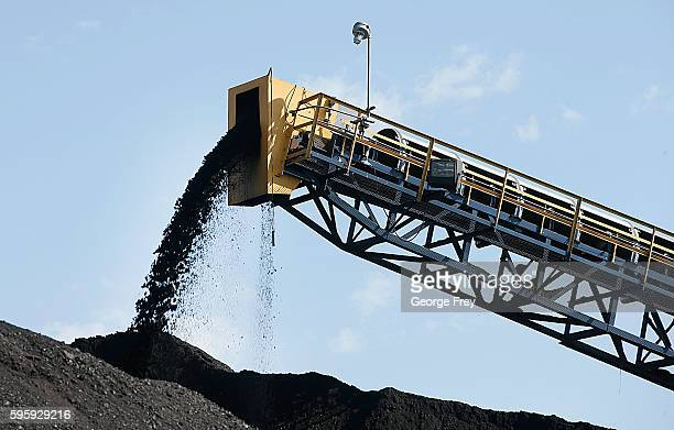 Coal falls off a conveyer belt as it's off loaded from trucks from local coal mines at the Savage Energy Terminal on August 26 2016 in Price Utah...