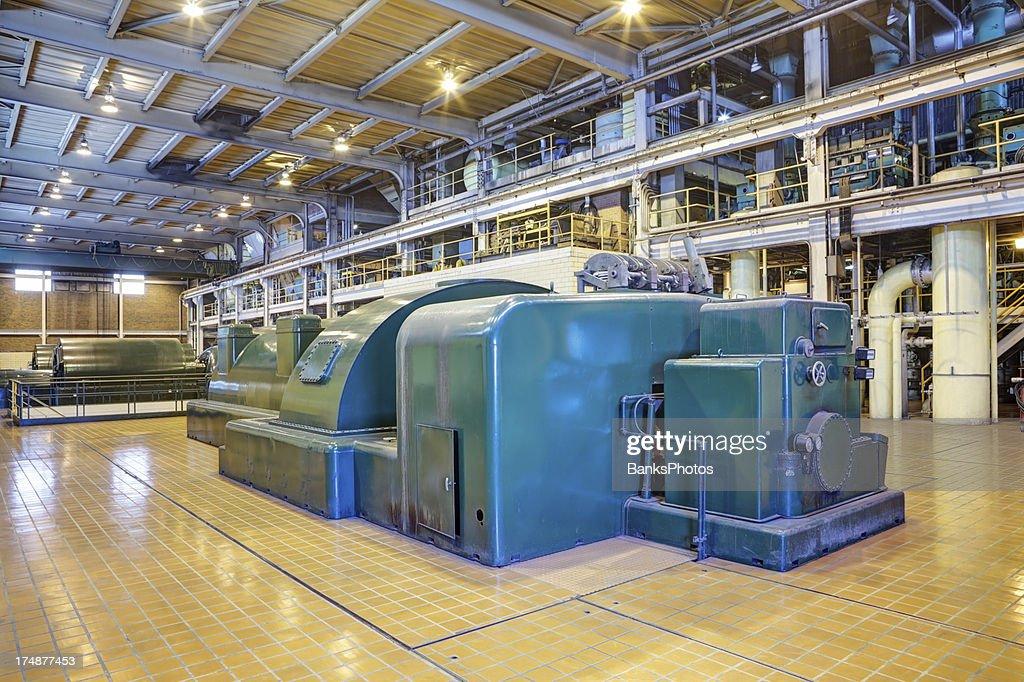 Coal Fired Power Plant Interior with 100 Megawatt Turbines : Stock Photo