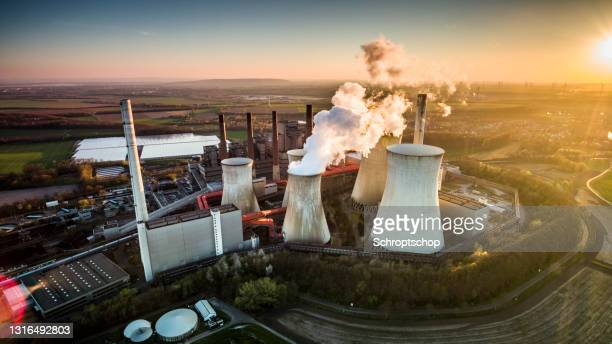 coal fired power station - aerial shot - north rhine westphalia stock pictures, royalty-free photos & images