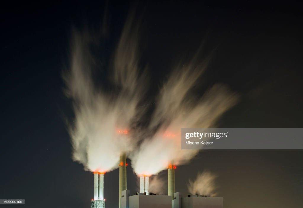 Coal fired power station at night : Stock Photo